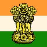 A bandeira e o emblema da Índia Fotografia de Stock Royalty Free