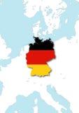 A bandeira e o mapa de Alemanha Fotografia de Stock Royalty Free