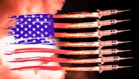 A bandeira e os mísseis dos EUA lançam-se das listras ardidas fotografia de stock