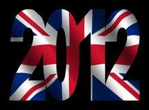 Bandeira e texto 2012 britânicos Fotos de Stock