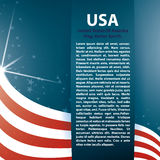 Bandeira e texto dos EUA do fundo do vetor Fotos de Stock Royalty Free