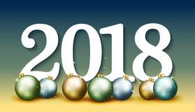 Bandeira elegante do ano novo feliz 2018 com as bolas azuis do Natal VE Fotos de Stock