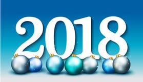 Bandeira elegante do ano novo feliz 2018 com as bolas azuis do Natal VE Imagem de Stock Royalty Free