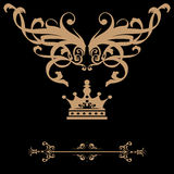 Bandeira elegante do quadro do ouro com coroa, elementos florais no ou ilustração do vetor