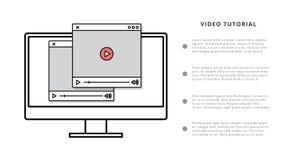 Bandeira em linha tutorial video da Web do molde do businessconcept da educação ilustração royalty free