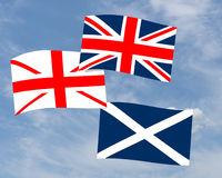 Bandeira escocesa da descentralização - Union Jack, saltire etc. Fotografia de Stock Royalty Free