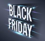 Bandeira escura para a venda preta de sexta-feira Quadro de avisos brilhante do texto isométrico metálico no fundo preto com luze Ilustração Royalty Free