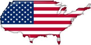 Bandeira Estados Unidos do mapa Fotografia de Stock Royalty Free