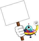 Bandeira estrangeira da placa da nave espacial do UFO dos desenhos animados Foto de Stock Royalty Free