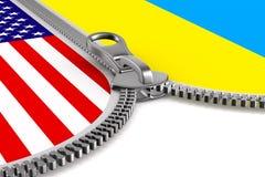 Bandeira EUA e Ucr?nia e z?per ilustra??o 3D ilustração royalty free