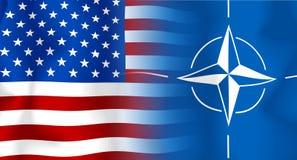 Bandeira EUA-OTAN Imagens de Stock Royalty Free