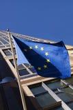 Bandeira européia na construção de United Nations Imagens de Stock Royalty Free