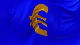 316 Bandeira europeia do Euro que acena no fundo sem emenda contínuo do laço do vento