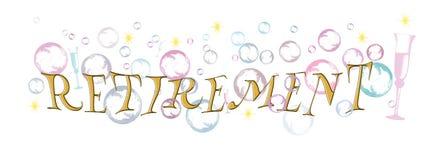 Bandeira feliz da aposentadoria, fundo com bolhas e vidros do champanhe, fundo branco Imagens de Stock Royalty Free