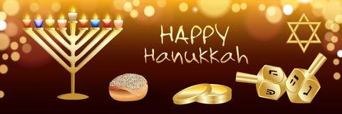 Bandeira feliz de hanukkah, estilo realístico ilustração stock