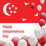 Bandeira feliz de singapore do Dia da Independência Foto de Stock Royalty Free