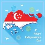 Bandeira feliz de singapore do Dia da Independência Imagens de Stock