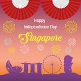 Bandeira feliz de singapore do Dia da Independência Imagens de Stock Royalty Free