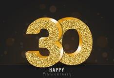 20 - bandeira feliz do aniversário do ano 20o logotipo do ouro do aniversário no fundo escuro ilustração stock