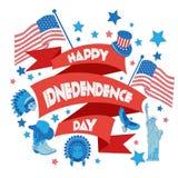 Bandeira feliz do Dia da Independência Ilustração lisa Fotografia de Stock