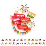 Bandeira feliz do Dia da Independência para muitos país ilustração royalty free