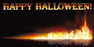 Bandeira feliz do Dia das Bruxas do fogo Imagens de Stock Royalty Free