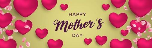 Bandeira feliz do dia de mães de balões cor-de-rosa do coração ilustração royalty free