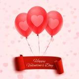 Bandeira feliz do dia de Valentim com três balões Fotografia de Stock Royalty Free