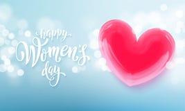 Bandeira feliz do dia do ` s das mulheres com coração do ballon no fundo claro azul romântico do bokeh Vetor cartaz do texto dos  ilustração stock