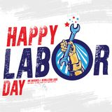 Bandeira feliz do Dia do Trabalhador Molde do projeto Ilustração do vetor ilustração do vetor