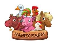 Bandeira feliz do título da exploração agrícola para o projeto de jogo ilustração royalty free