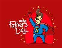 Bandeira feliz do vetor do dia de pais com super-herói do paizinho ilustração stock