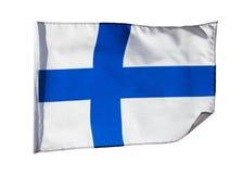 Bandeira finlandesa no vento no fundo branco Fotos de Stock Royalty Free
