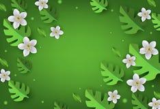 A bandeira floral com maçã ou as flores de cerejeira brancas e monstera verde sae com o espaço da cópia Imagens de Stock