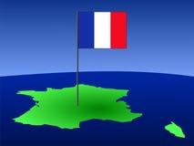 Bandeira francesa no mapa Imagens de Stock Royalty Free