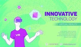 Bandeira futurista da realidade virtual ilustração do vetor