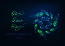 Bandeira futurista da Web do dia de ambiente de mundo com reciclagem do sinal, da grinalda verde da folha e do slogan imagem de stock