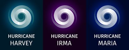 Bandeira gráfica dos furacões Harvey, Irma, Maria ilustração royalty free