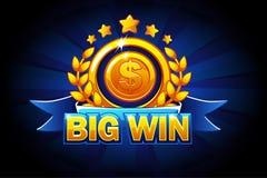 Bandeira grande da vitória com fita azul e texto Ilustração do vetor para o casino, os entalhes, a roleta e o jogo UI ilustração do vetor