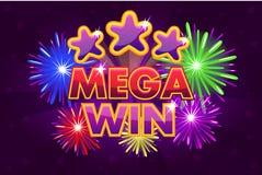 Bandeira grande MEGA ajustada da vitória do vetor para jogos da loteria ou do casino Estrelas coloridas de tiro Ilustração do Vetor
