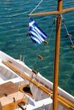 Bandeira grega em um navio Fotografia de Stock