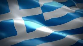 Bandeira grega que acena nas imagens de vídeo HD completo do vento Fundo grego realístico da bandeira Close up dando laços 1080p  ilustração stock