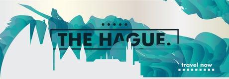 Bandeira holandesa do vetor do inclinação da cidade da skyline de Haia Imagens de Stock Royalty Free