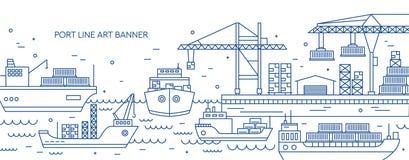 Bandeira horizontal com o porto marítimo, o terminal marinho da carga, as embarcações do frete ou os navios levando os recipiente ilustração do vetor