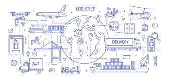 Bandeira horizontal com os vários bens levando do transporte de frete tirados com linhas de contorno Transporte de carga, interna ilustração do vetor