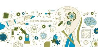 Bandeira horizontal com robô, braço robótico, manipulador automático, dispositivos tecnologicos inovativos artificial ilustração do vetor