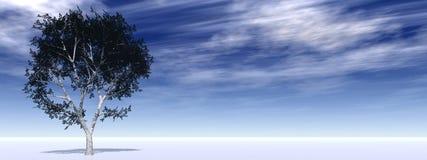 Bandeira horizontal com uma árvore isolada no horizonte Imagens de Stock
