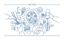 Bandeira horizontal da propaganda com fastfood Composição com o cachorro quente dos produtos com mostarda, pizza, macarronetes, f ilustração royalty free