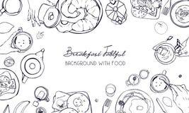 Bandeira horizontal da propaganda no tema do café da manhã Contexto com bebida, panquecas, sanduíches, ovos, croissant e frutos ilustração stock