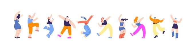 Bandeira horizontal de dança dos povos do grupo do partido de disco ilustração do vetor